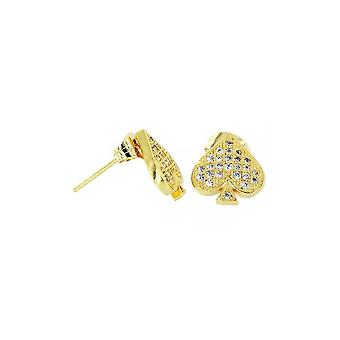 Earrings Ace Of Spade Micro Pave Gold [11mm]