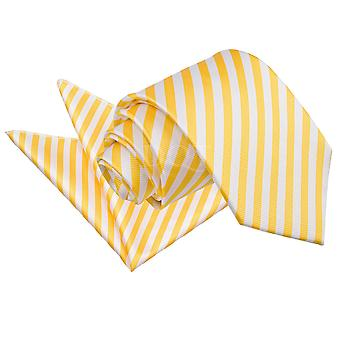 Men's Thin Stripe White & Yellow Tie 2 pc. Set
