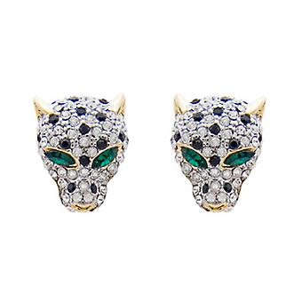Butler and Wilson Crystal Leopard Head Stud Earrings