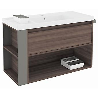 Bath+ 1 Drawer Cabinet + Shelf With Resin Basin Fresno-Grey 100cm