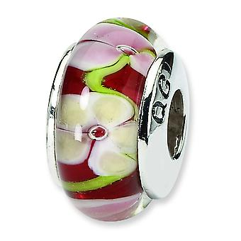 Ster Silber Reflexionen rot Floral Murano Glas Bead Charm