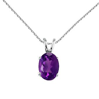 14k White Gold Oval Large 6x8 mm Amethyst Pendant with 18