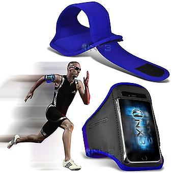ONX3 LG K8 (2017) Case (Blue) Case Cover Adjustable Fitness Running Jogging Cycling Gym Armband Holder