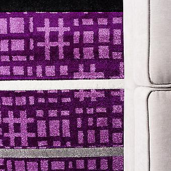 Purple & Grey Contemporary Patchwork Long Runner Rug- Rio