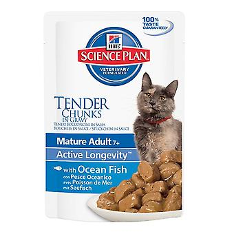 Hill's Science Plan Feline Chunks & Gravy Mature Adult Pouch Ocean Fish 85g (Pack of 12)