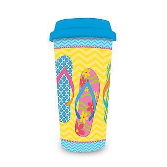 翻转翻转游行黄色16盎司咖啡拿铁旅游杯和盖子