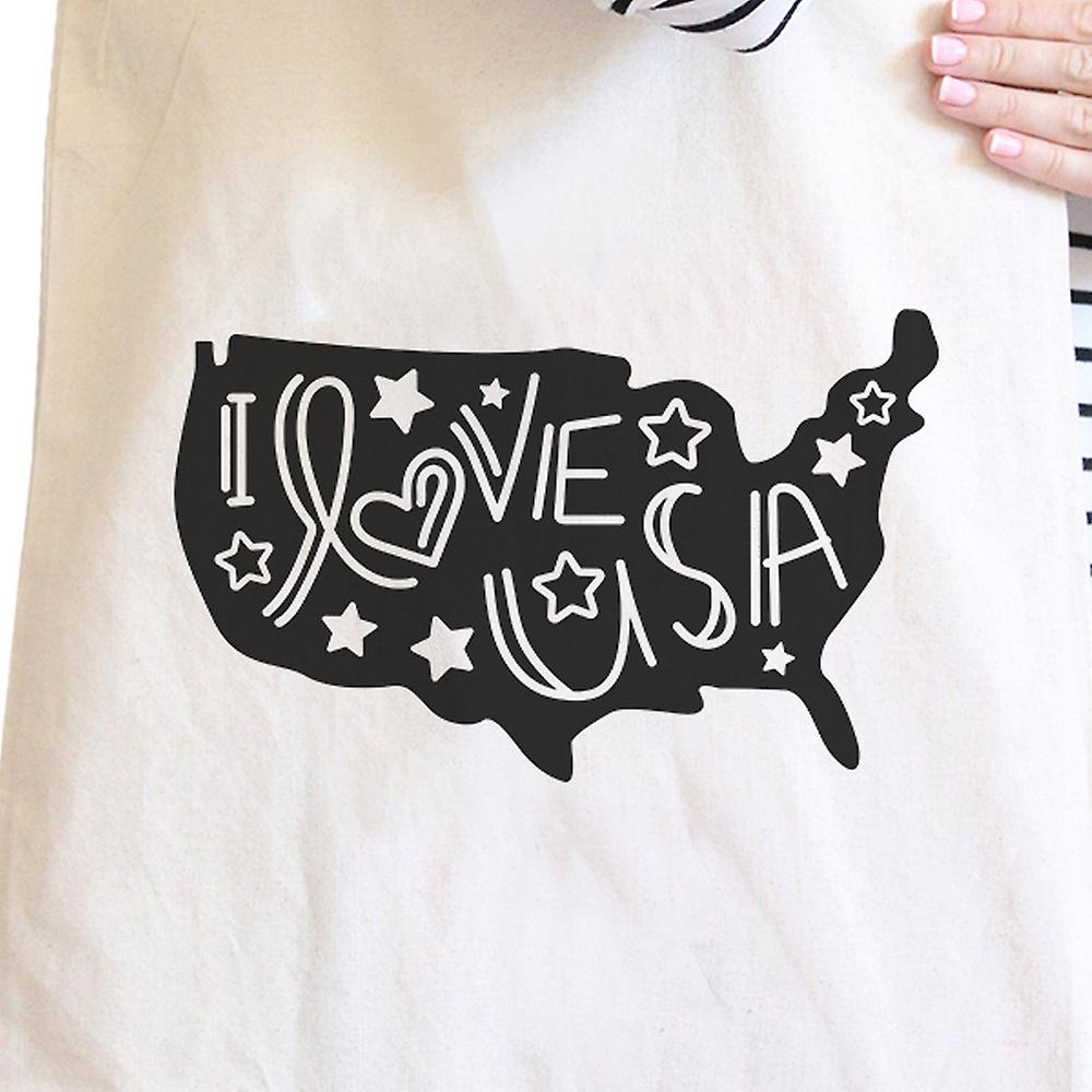 I Love USA Natural Canvas Tote Bag Perfect Gift Idea For Army Wives