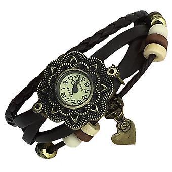 Boolavard® TM Herzen Quarz Mode weben Wrap-around-Leder-Armband-Frauen-Armbanduhr
