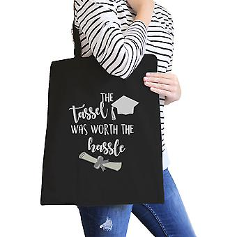 The Tassel Worth The Hassle Black Canvas Tote Cute Graduation Gift