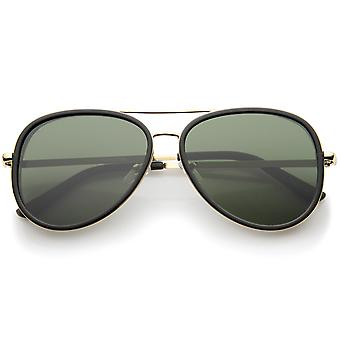 Retro Fashion Side Cover Flat Lens Two-Tone Metal Aviator Sunglasses 53mm