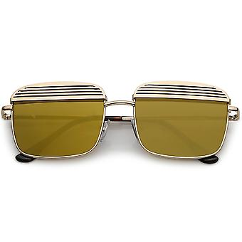 Modern Square Sunglasses With Ultra Slim Arms And Metal Covered Mirror Flat Lens 53mm