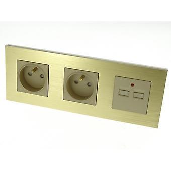 I LumoS Luxury Gold Brushed Aluminium Frame Double 16A French + 2.1A USB Triple Socket