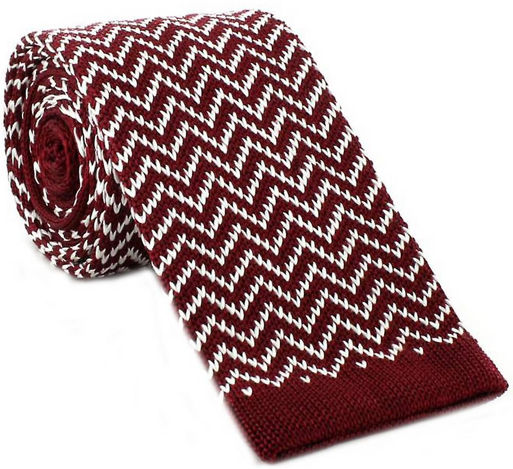 Michelsons of London Zig Zag Silk Knitted Skinny Tie - Wine/White