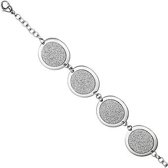 Bracelet stainless steel with glitter effect 20 cm stainless steel strap carabiner