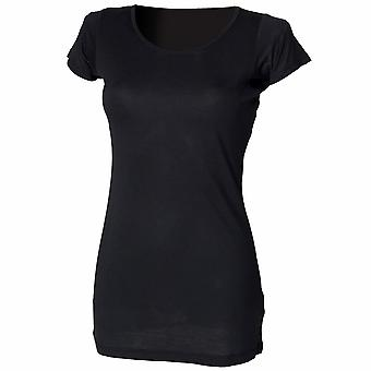 Skinni Fit Ladies/Womens Long Line Touch T-Shirt (Short Sleeve)