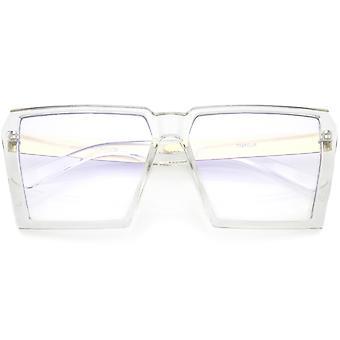 Oversize moderne Chunky firkantede briller flade klar linse 60mm