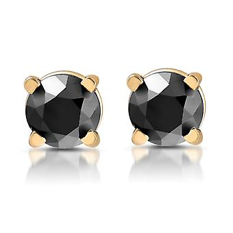 Yellow Gold 1/2ct Round Cut Black Diamond Studs