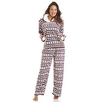 Camille Luxury Fairisle Print Hooded Burgundy Pyjama
