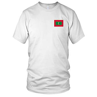 Maldives Country National Flag - Embroidered Logo - 100% Cotton T-Shirt Ladies T Shirt