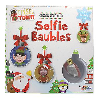 Tinsel Town Christmas Create Your Own Selfie Baubles Festive Decoration Set