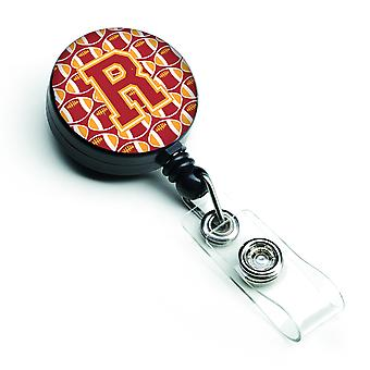 Letter R Football Cardinal and Gold Retractable Badge Reel