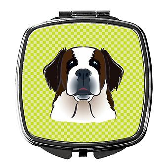 Checkerboard Lime Green Saint Bernard Compact Mirror