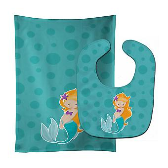 Carolines Treasures  BB8823STBU Beach Mermaid Ginger Baby Bib & Burp Cloth