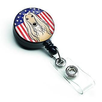 American Flag and Afghan Hound Retractable Badge Reel