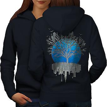 Städtischen Spiegel Baum Frauen NavyHoodie Rücken | Wellcoda