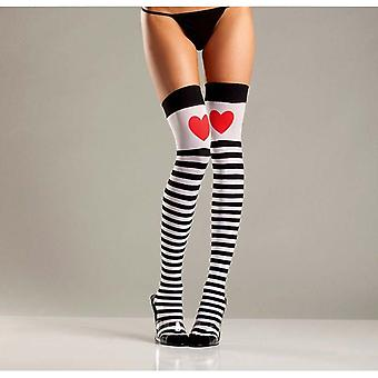 Be Wicked BW652 Striped thigh highs with red hearts