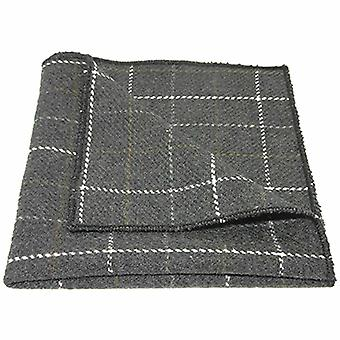 Heritage Check Charcoal Grey Pocket Square, Tweed, Handkerchief