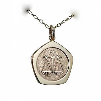 9ct Gold 21mm five sided Libra Zodiac Pendant with a belcher Chain 16 inches Only Suitable for Children