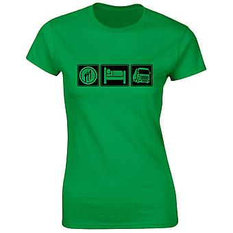 Comer dormir camiones para mujer camiseta 8 colores (8-20) por swagwear