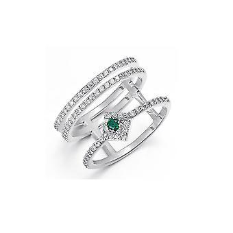 Ring in Swarovski elementen kristal wit en groen en Rhodium plaat