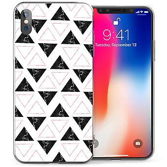 iPhone X мрамор геометрические треугольников гель ТПУ - черный / белый