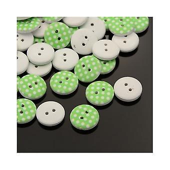 20 x Lime Green/White Wood 15mm Round 2-Holed Patterned Sew On Buttons HA14215