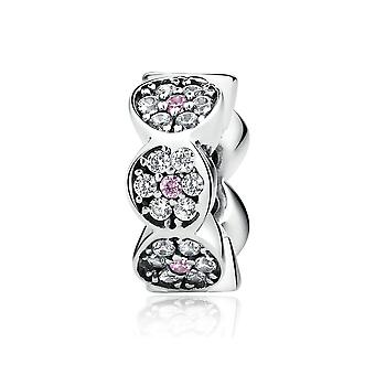 Sterling silver flower spacer with zirconia stones SCC101