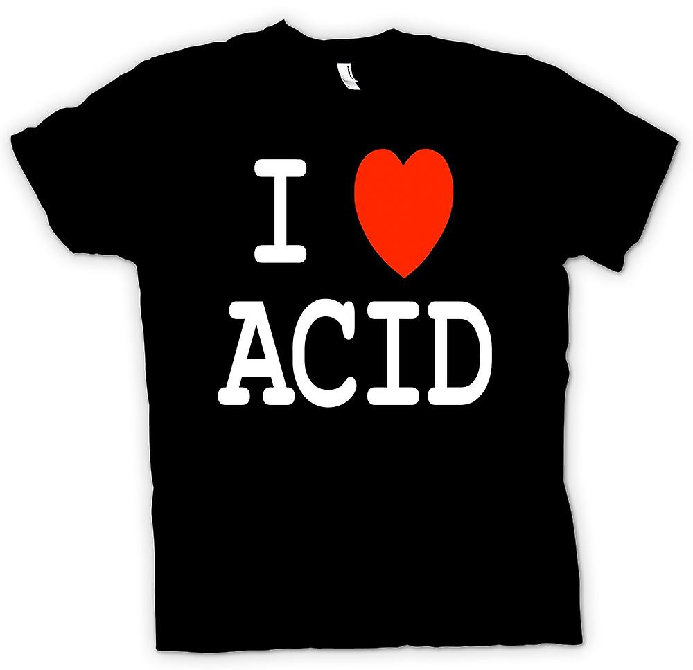 Womens T-shirt - I Love Heart Acid - Funny