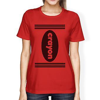 Crayon Womens Red Graphic Tee Round Neck Halloween Costume Shirts
