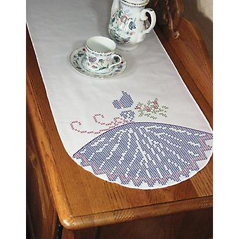 Stamped Perle Edge Dresser Scarf 15