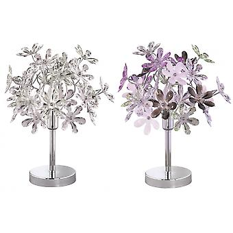 Trio Beleuchtung Blume Young Living Chrom Metall Tischlampe