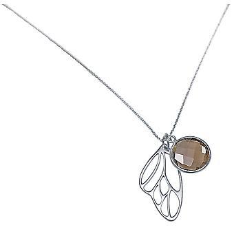 Gemshine   Halskette Anhänger Silber Schmetterling Flügel Rauchquarz Braun