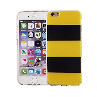 Caja del teléfono celular de Apple iPhone 6 6s cubierta de adorno del bolso de la caja protectora TPU delgado + protección de la armadura de cristal 9 H amarillo / negro