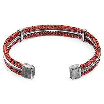 Anchor & Crew Red Noir Aire Silver and Rope Bangle
