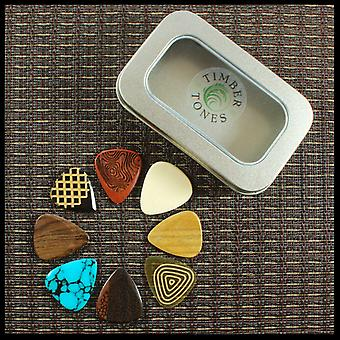 Timber Tones Luxury Tin of 8 Electric Guitar Picks  TIMT-ELEC-LMT-8