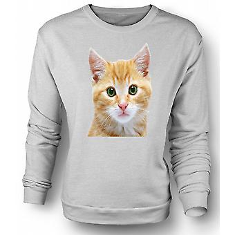 Womens Sweatshirt søte røde kattunge ansikt portrett