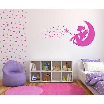 Fairy Girl On Moon Magical Wall Sticker