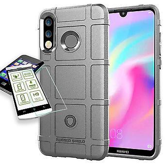 Für Huawei P30 Lite Shield Case TPU Silikon Grau + 0,26 mm 2.5D H9 Hartglas Tasche Hülle Cover Hülle