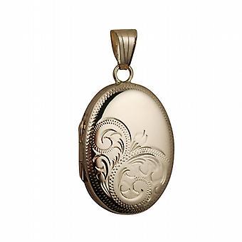 9ct Gold 27x20mm oval half hand engraved Locket