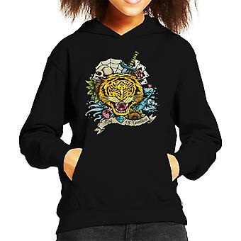 King Of Gamblers Tiger Tattoo Kid's Hooded Sweatshirt